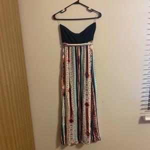 Love Fire Maxi Summer Dress, aztec print